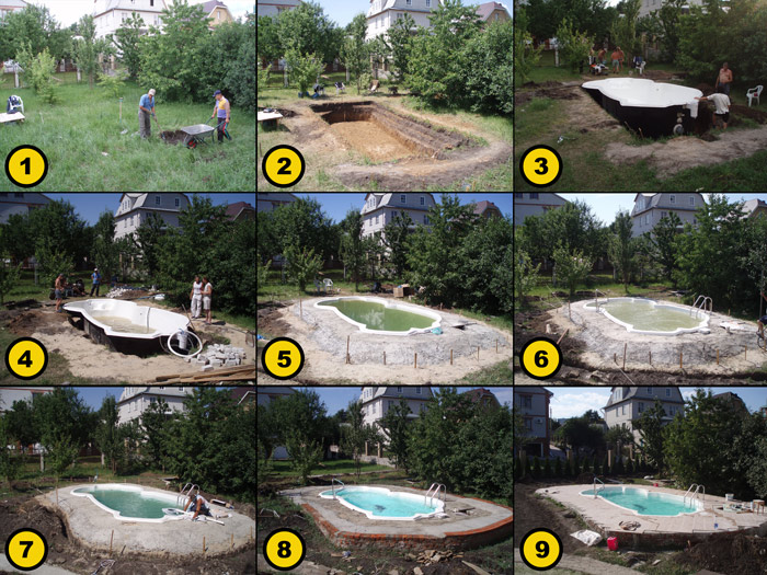 композитный бассейн — установка